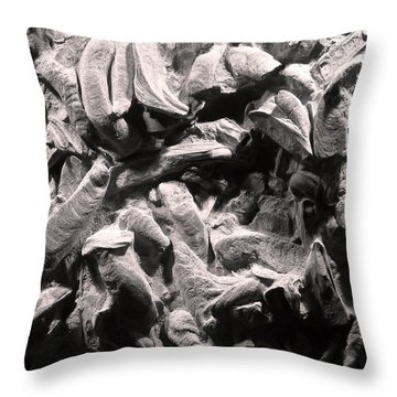 Throw Pillow featuring the photograph Fingers Of Time - Giant Oyster Shell Fossils by Menega Sabidussi