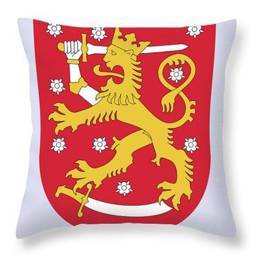 Throw Pillow featuring the drawing Finland Coat Of Arms by Movie Poster Prints