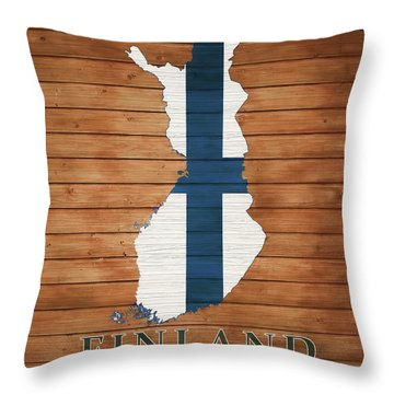Finland Rustic Map On Wood Throw Pillow