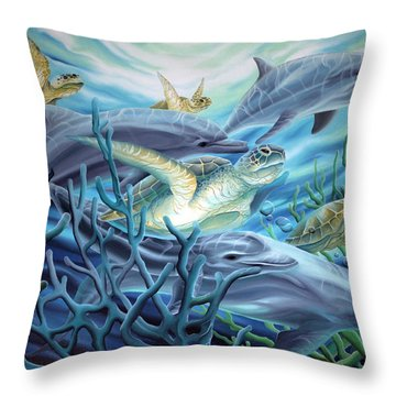 Fins And Flippers Throw Pillow
