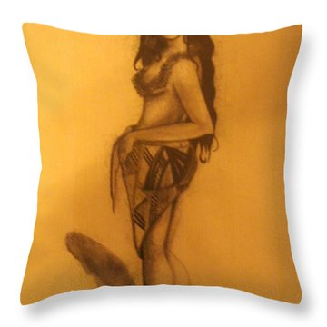 Throw Pillow featuring the drawing Fi'on-hu by Michelle Dallocchio
