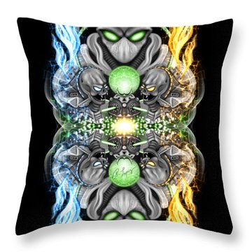 Fire And Ice Alien Time Machine Throw Pillow