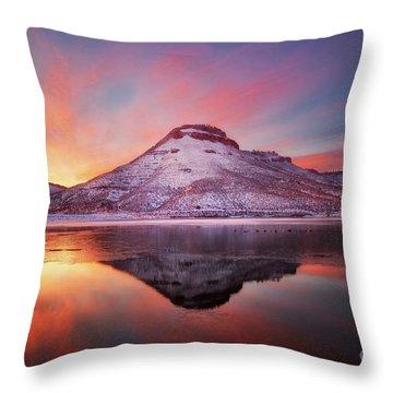 Fire And Ice - Flatiron Reservoir, Loveland Colorado Throw Pillow by Ronda Kimbrow