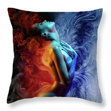 Fire And Ice Throw Pillow by Lilia D
