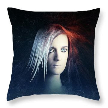 Fire And Ice Portrait Throw Pillow