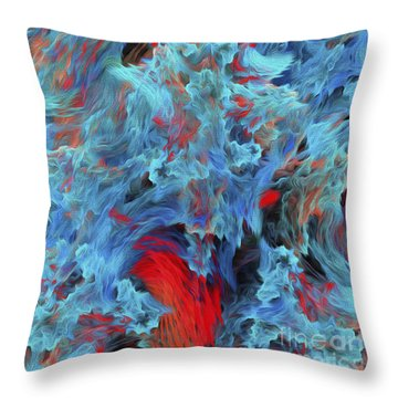 Fire And Water Abstract Throw Pillow by Andee Design
