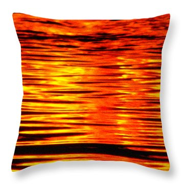 Fire At Night On The Water Throw Pillow