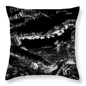 Throw Pillow featuring the photograph Fire Black And White by Britt Runyon