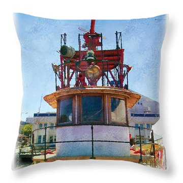 Throw Pillow featuring the painting Fire Boat by Kenneth De Tore