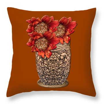 Fire Brick Flora Vase Throw Pillow