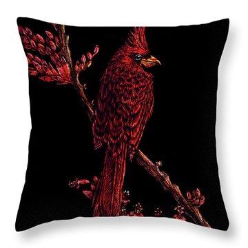 Fire Cardinal Throw Pillow