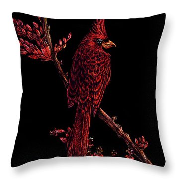 Fire Cardinal Throw Pillow