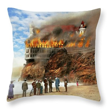 Throw Pillow featuring the photograph Fire - Cliffside Fire 1907 by Mike Savad