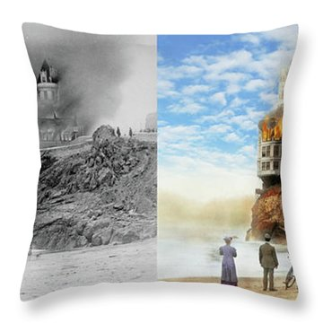 Throw Pillow featuring the photograph Fire - Cliffside Fire 1907 - Side By Side by Mike Savad