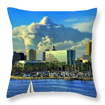 Throw Pillow featuring the photograph Fire Cloud Over Long Beach by Mariola Bitner