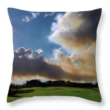 Fire Clouds Over A Golf Course Throw Pillow