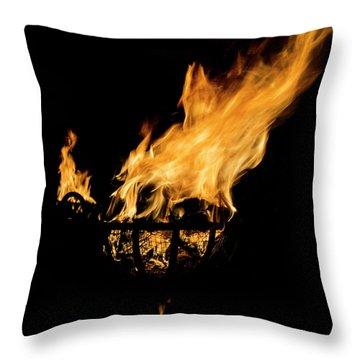Fire Cressets Three Throw Pillow