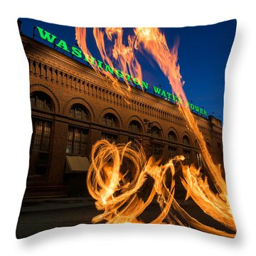 Fire Dancers In Spokane W A Throw Pillow