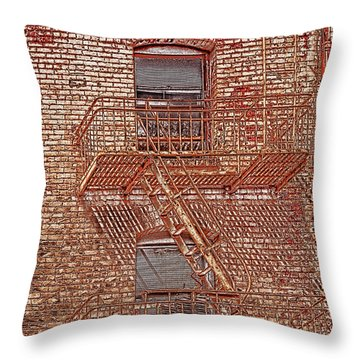 Throw Pillow featuring the photograph Fire Escape by Marie Leslie