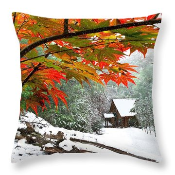 Fire Fog And Snowy Fence Throw Pillow by Debra and Dave Vanderlaan