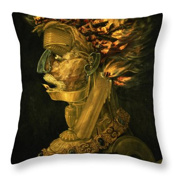 Fire Throw Pillow by Giuseppe Arcimboldo