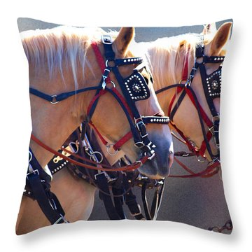 Fire Horses Throw Pillow