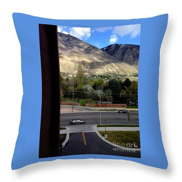 Fire Hydrant Guarding The Byu Y Throw Pillow