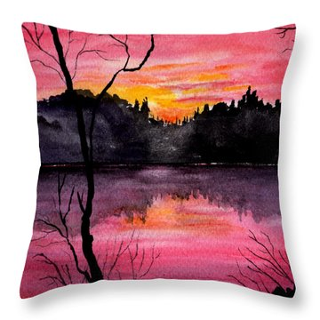 Fire In The Sky    Lake Arrowhead Maine Throw Pillow