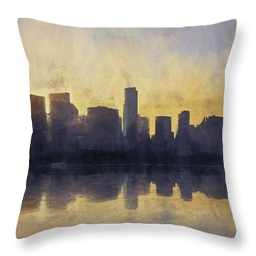 Fire In The Sky Chicago At Sunset Throw Pillow by Scott Norris