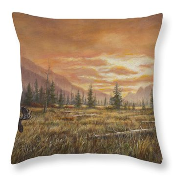 Throw Pillow featuring the painting Fire In The Sky by Kim Lockman