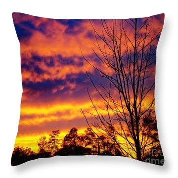 Throw Pillow featuring the photograph Fire In The Sky by Sue Melvin