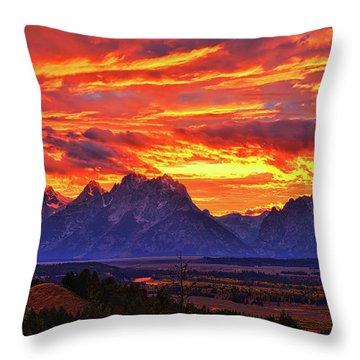 Fire In The Teton Sky Throw Pillow