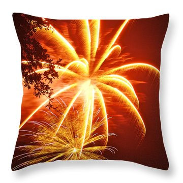 Fire In The Trees Throw Pillow by Phill Doherty