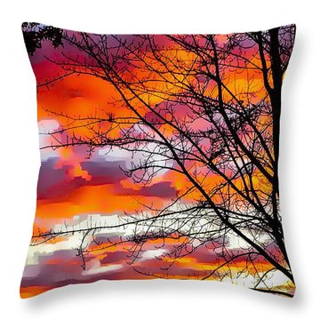 Fire Inthe Sky Throw Pillow by MaryLee Parker