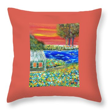 Throw Pillow featuring the painting Fire Island by Debbie