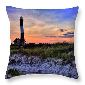 Fire Island Lighthouse Throw Pillow by Rick Berk