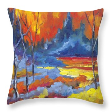 Fire Lake Throw Pillow by Richard T Pranke