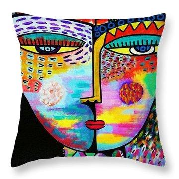 Fire Lava Goddess Throw Pillow by Sandra Silberzweig