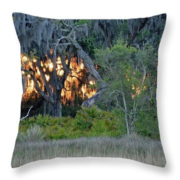 Throw Pillow featuring the photograph Fire Light Jekyll Island by Bruce Gourley