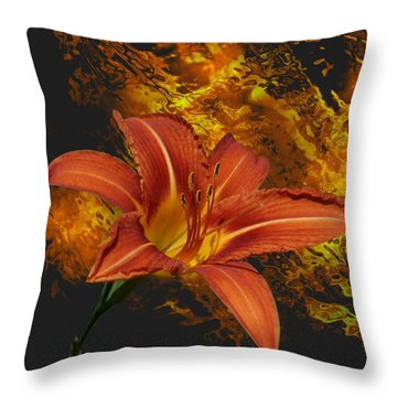 Throw Pillow featuring the photograph Fire Lilly by Rick Friedle
