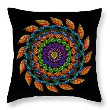 Fire Mandala Throw Pillow