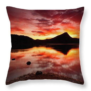 Throw Pillow featuring the photograph Fire Of Fall by John De Bord