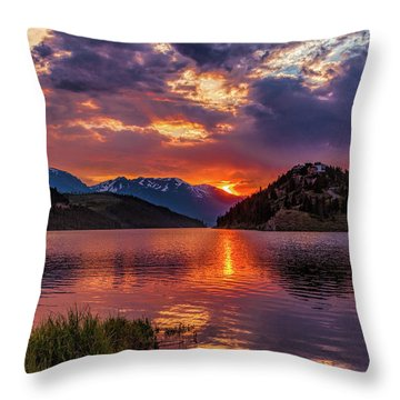 Fire On The Water Reflections Throw Pillow