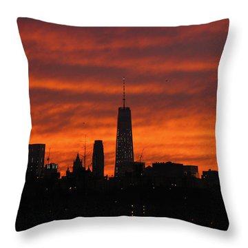 Fire Over New York Throw Pillow