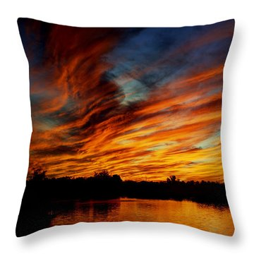 Fire Sky Throw Pillow by Saija  Lehtonen