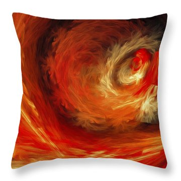 Fire Storm Abstract Throw Pillow by Andee Design