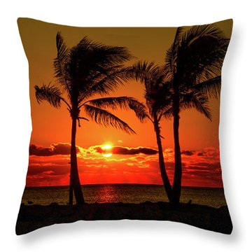 Fire Sunset Through Palms Throw Pillow