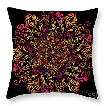 Fire Swirl Flower Throw Pillow