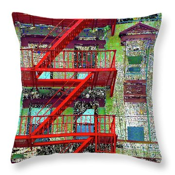 Throw Pillow featuring the mixed media Fire by Tony Rubino