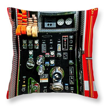 Fire Truck Control Panel Throw Pillow by Dave Mills